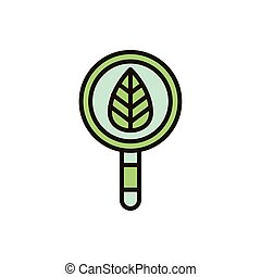 magnifying glass with leaf nature drawing