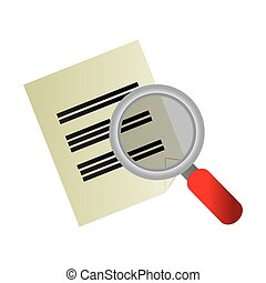 magnifying glass with paper document files icon