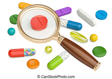 magnifying glass with pills, 3D rendering