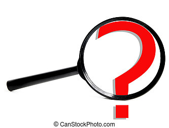 magnifying glass with question mark, on white