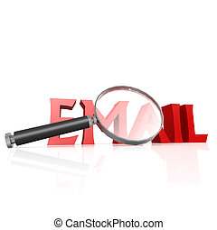 Magnifying glass with red email word