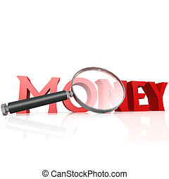 Magnifying glass with red money word