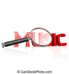Magnifying glass with red music word