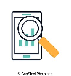 magnifying glass with smartphone icon