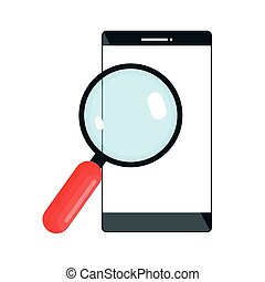magnifying glass with smartphone isolated icon