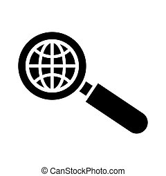 magnifying glass with sphere browser silhouette style icon