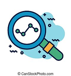 magnifying glass with statistics detail style icon