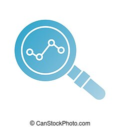 magnifying glass with statistics silhouette style icon