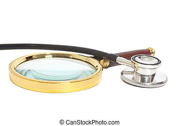 Magnifying Glass With Stethoscope isolated on white.Health concept