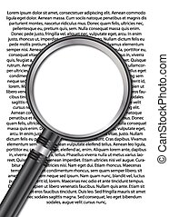 Magnifying glass with text