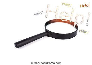 Magnifying glass with the word help on white background.