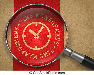 Magnifying Glass with Time Management Concept. - Magnifying...