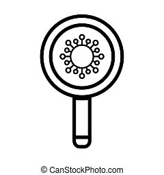 magnifying glass with viruses, bacteria under a magnifying glass , line style icon