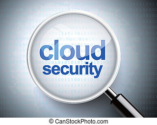 magnifying glass with words cloud security