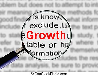 Magnifying Glass with words Growth