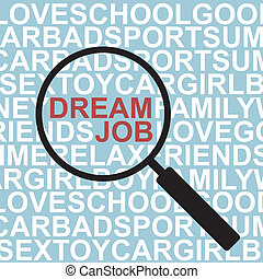 Dream Job - Magnifying glass , with Your Dream Job text