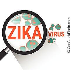 Magnifying glass with Zika virus