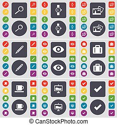 Magnifying glass, Wrist watch, Picture, Pencil, Vision, Suitcase, Cup, Graph, Tick icon symbol. A large set of flat, colored buttons for your design. Vector