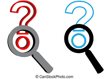 Magnifying Glasses search for answer to question mark