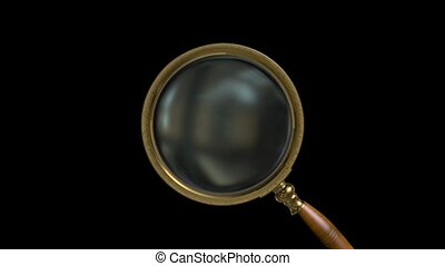 Magnifying magnifier on black background HD