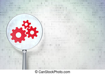 Magnifying optical glass with Gears icon on digital background, empty copyspace for card, text, advertising, 3d render