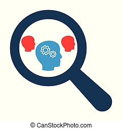 Magnifying optical glass with Head Whis Gears icons on white background