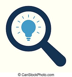 Magnifying optical glass with Light Bulb icon on white background