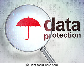 Magnifying optical glass with Umbrella icon and Data Protection word on digital background, 3d render