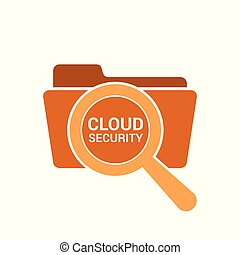 Magnifying Optical Glass With Words Cloud Security