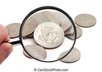 magnifying usa coins
