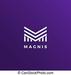 Magnis Abstract Geometry Minimal Vector Sign, Symbol or Logo Template. Line Style Lettering.