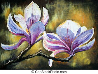 Magnolia blossoms acrylic painted.