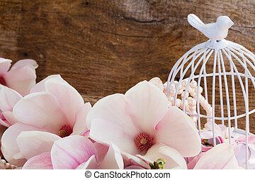 magnolia, fiori, con, birdcage, su, tavola legno