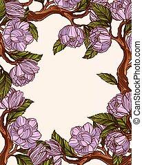 magnolia, fiori, cornice