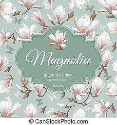 magnolia, fleur, retro, card-