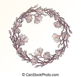 Magnolia floral circle frame template
