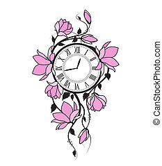 Magnolia flowers and clock