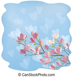 Magnolia Flowers and Hearts