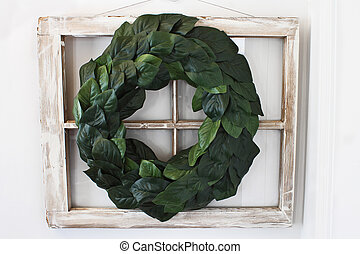 Magnolia Leaf Wreath over Old Window - Old farmhouse window...