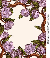 magnolie, blumen, rahmen