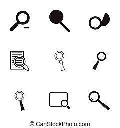 magnufying, vecteur, ensemble, verre, icônes