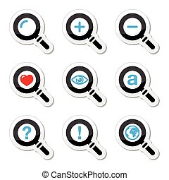 Magnyfying glass, search icons set