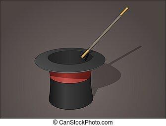 mago, cappello, con, bacchetta magica