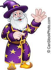 mago, carattere, cartone animato, indicare