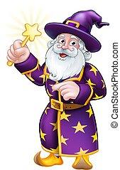 mago, carattere, indicare, bacchetta, cartone animato