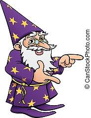 mago, cartone animato, indicare, mascotte