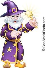 mago, cartone animato, indicare