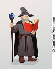 mago, con, bacchetta magica, e, libro