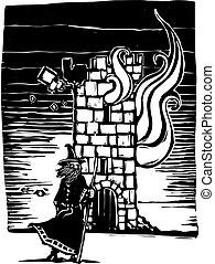 mago, e, urente, torre