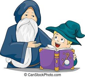 mago, profesor, niño, niño, libro